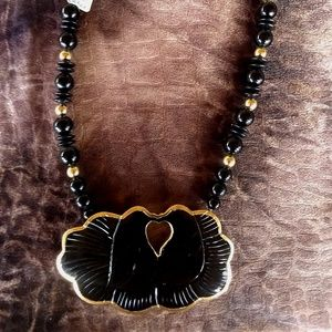 Vintage Buffalo Horn Gold Overlay Glass Necklace